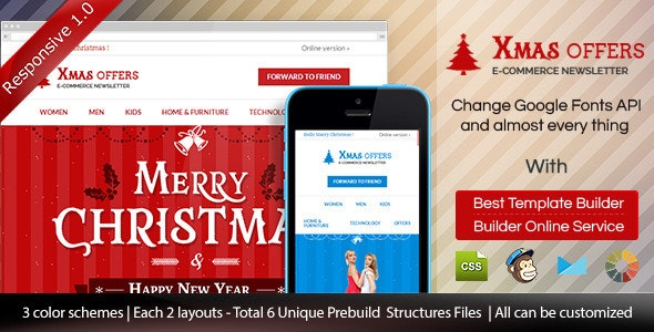 Christmas - E-commerce Responsive Email + Builder - Email Templates Marketing