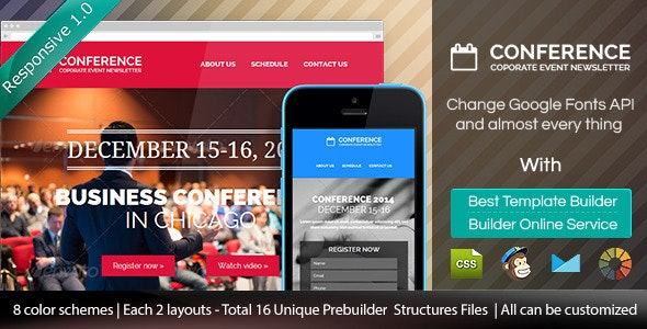 Conference - Responsive Email Template + Builder - Email Templates Marketing