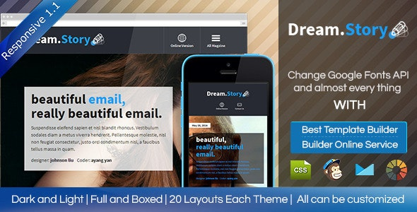 Dream.Story - Responsive Email Template + Builder - Email Templates Marketing