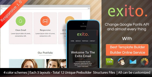 Exito - Responsive Email Template With Builder - Email Templates Marketing