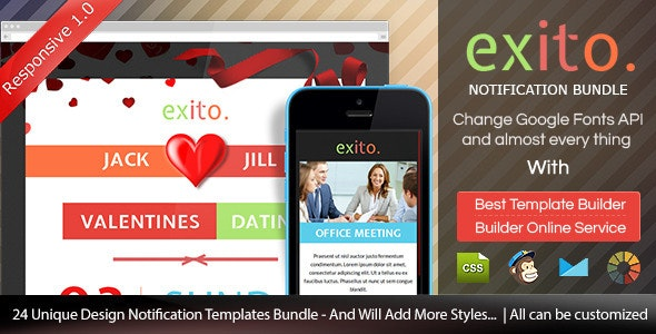 Exito - Notification Bundle Email With Builder - Email Templates Marketing