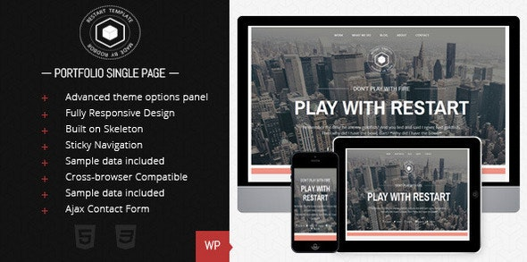 Restart - Responsive Single Page Theme - Portfolio Creative