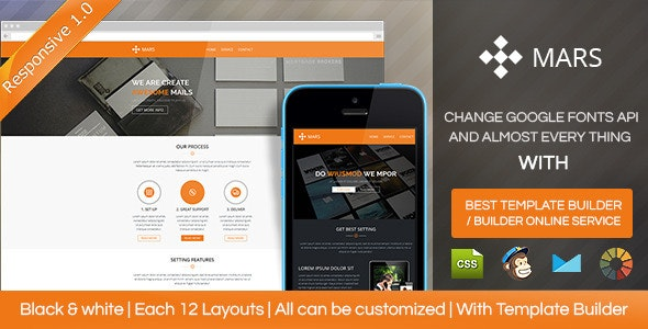 Mars - Responsive Email Template With Builder - Email Templates Marketing