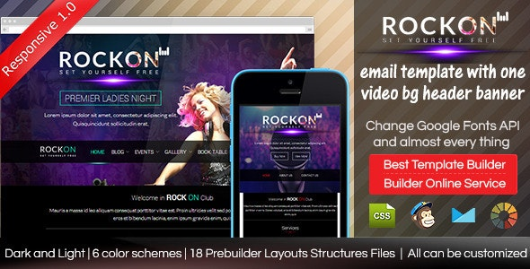 ROCKON - Responsive Email Template With Builder - Email Templates Marketing