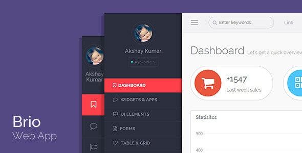Brio Web App - Bootstrap Admin Template Dashboard - Admin Templates Site Templates