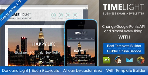 TIMELIGHT - Responsive Email With Template Builder - Email Templates Marketing