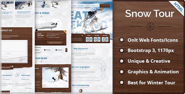 Snow Tour - Responsive Winter Travel HTML Template - Travel Retail