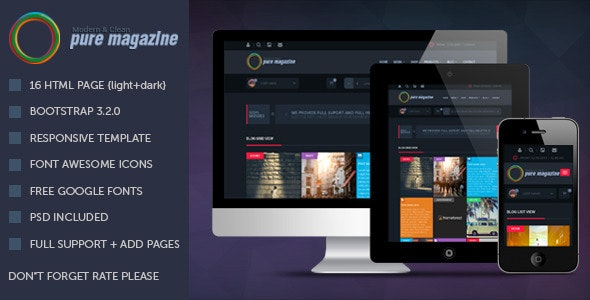 Pure Magazine: Responsive HTML Magazine Template - Portfolio Creative