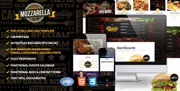 Download Mozzarella PHP & HTML Cafe Bar Template