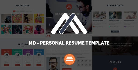 MD - Responsive Personal Resume & Portfolio Template