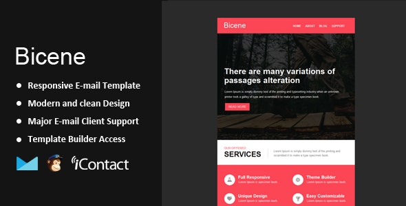 Bicene - Responsive Email + Themebuilder Access - Email Templates Marketing