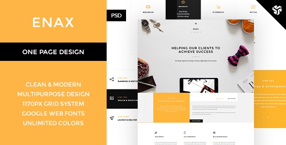 Enax - One Page MultiPurpose Parallax  - Photoshop UI Templates
