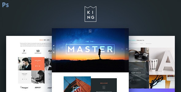 KING - Creative One Page PSD Template - Creative Photoshop
