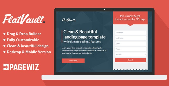 Flat Vault - Pagewiz Landing Page Template - Pagewiz Marketing