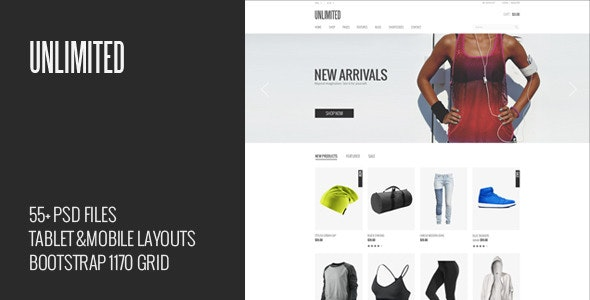 Unlimited - eCommerce PSD Template - Retail Photoshop