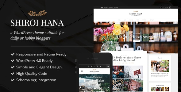 Shiroi Hana - An Elegant Blogging Theme - Personal Blog / Magazine
