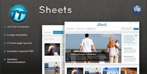 Sheets HTML Theme - Corporate Site Templates