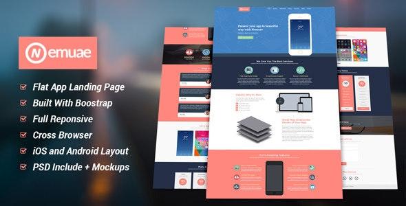 Nemuae Responsive Flat Design Landing Page - Apps Technology