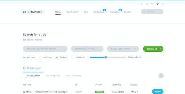 Cravious - Job Portal PSD Template