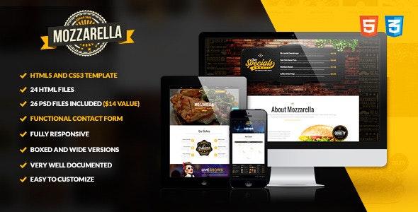 Mozzarella - HTML5 and CSS3 Cafe Bar Template - Food Retail