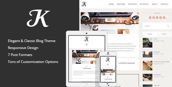 K-Theme - A Responsive WordPress Blog Theme - Personal Blog / Magazine