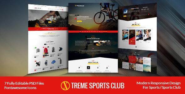 Xtreme Sports club - PSD Template - Retail Photoshop