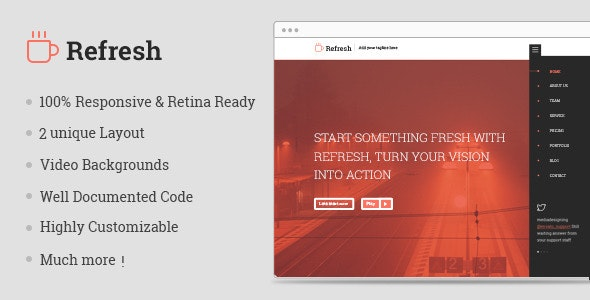 Refresh | Multipurpose Single Page Template - Corporate Site Templates