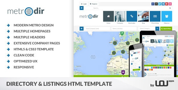 Metrodir - Directory & Listings HTML Template - Corporate Site Templates