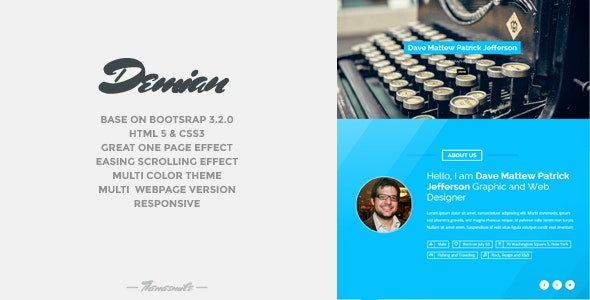 Demian - Bootstrap Portfolio Responsive Template - Virtual Business Card Personal