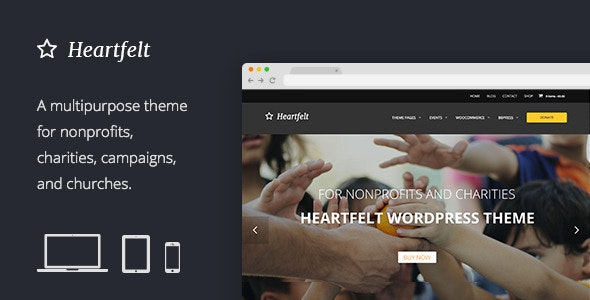 Heartfelt: Humanitarian Responsive WordPress Theme - Charity Nonprofit