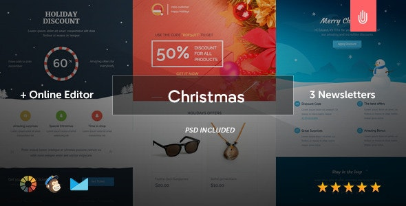 The Christmas - 3 Email Templates + Online Editor - Newsletters Email Templates