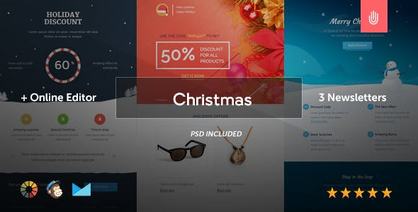 The Christmas - 3 Email Templates + Online Editor