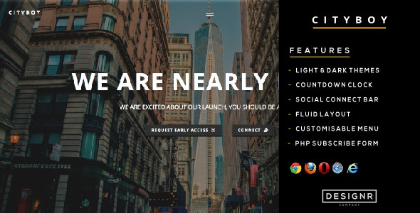 Cityboy - A Responsive Minimalistic HTML Coming Soon Theme w/ Countdown Clock - Specialty Pages Site Templates
