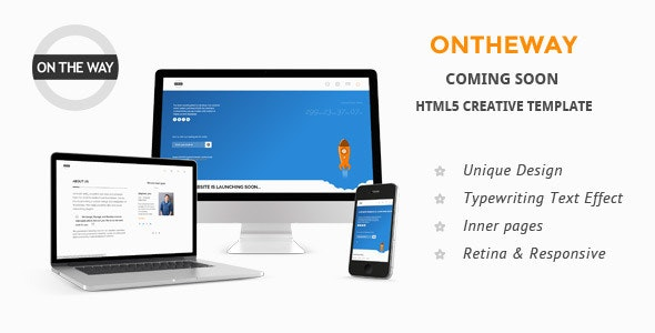 Ontheway Coming Soon Responsive HTML5 Template - Under Construction Specialty Pages
