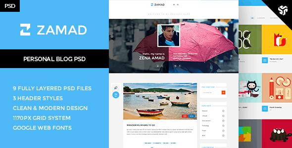 Zamad - Personal Blog Theme  - Photoshop UI Templates