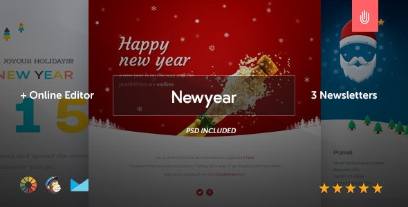 Newyear - 3 Email Templates + Online Editor - Newsletters Email Templates