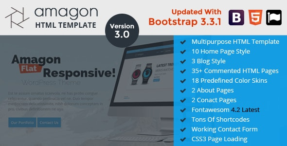 Amagon: Bootstrap Flat Multipurpose HTML5 Template - Business Corporate