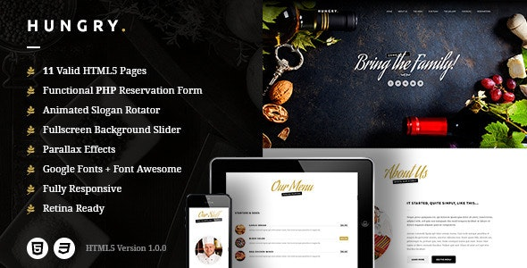Hungry - A One-Page HTML Restaurant Template - Restaurants & Cafes Entertainment