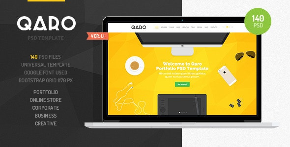 QARO - Clean & Modern PSD Template - Creative Photoshop