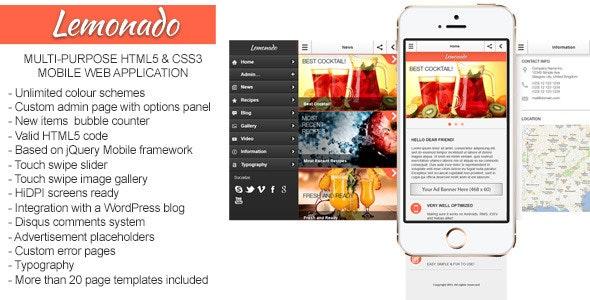 Lemonado - Multi-purpose Mobile Web Application by Gramatton