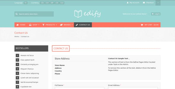 Edify - Responsive Zen Cart Theme