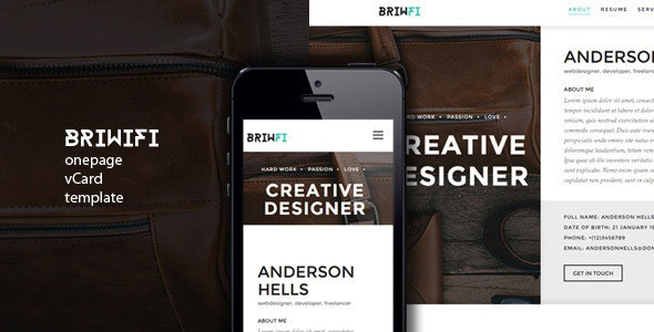 Briwfi Onepage vCard Template - Virtual Business Card Personal