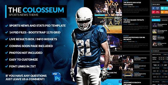 The Colosseum - Sports Magazine PSD Template - Entertainment Photoshop