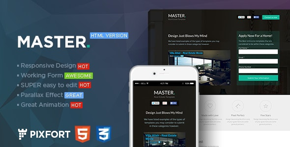 MASTER - Real Estate HTML Landing Page - Marketing Corporate