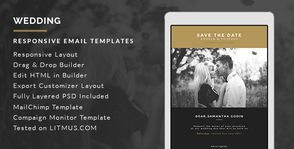 Wedding Invitation Card Email Template + Builder Access - Email Templates Marketing