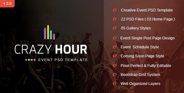 Crazy Hour - Event Management PSD Template