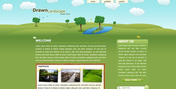 Drawn Landscape PSD Template - Creative Photoshop