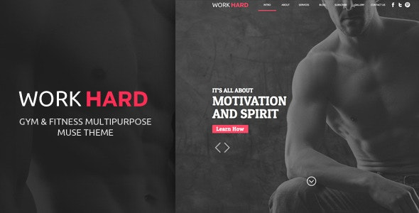 Work Hard One Page Muse Template - Muse Templates