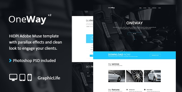 OneWay - Adobe Muse Template - Creative Muse Templates