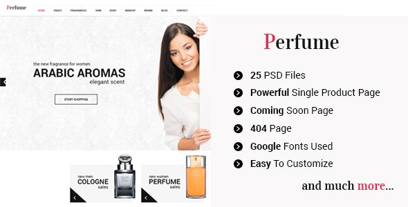 Perfume - eCommerce Shop PSD Template - Shopping Retail